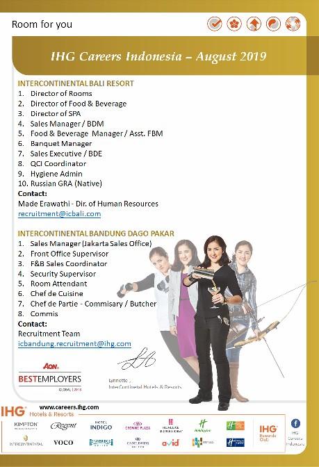 Ihg Career Indonesia August 2019 Hhrma Hotel Job Vacancy Indonesia